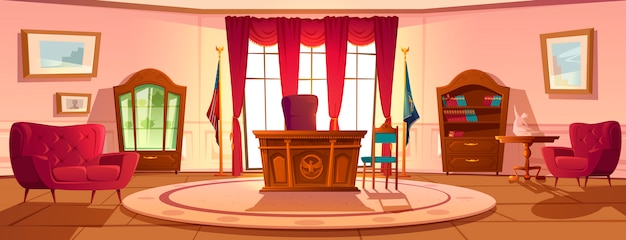 Interior of oval office in white house daytime Free Vector