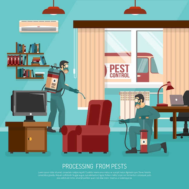 Interior pest control treatment flat advertisement poster Free Vector