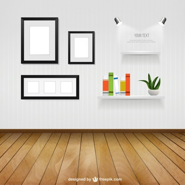 Interior Room With Wall Frames And Shelves Free Vector