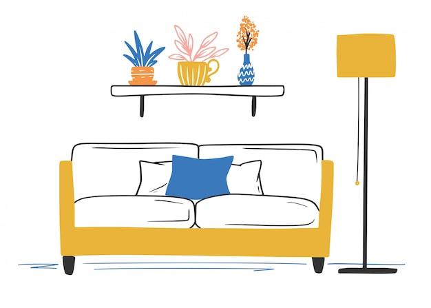 Interior in scandinavian style. part of the room. Premium Vector