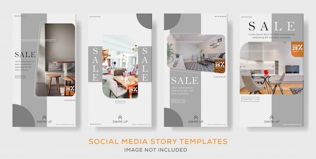 Interior social media set post stories banner template premium Premium Vector