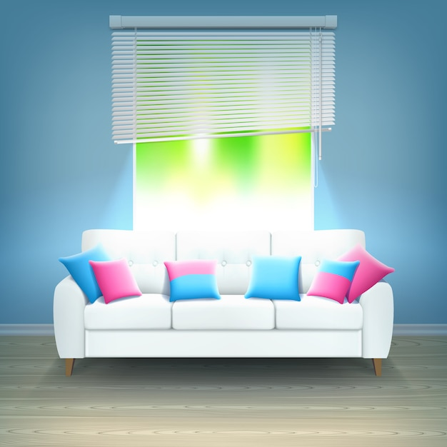 Interior sofa neon light realistic illustration Free Vector