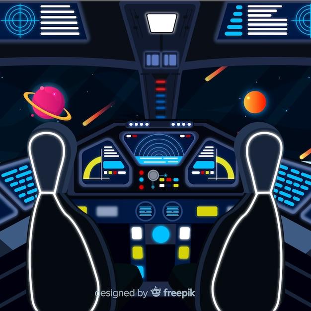 Interior Spaceship Design Background With Flat Deisgn Vector Free - Spaceship design game