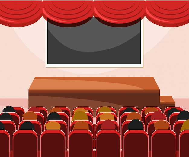 Interior of stage with audience Free Vector