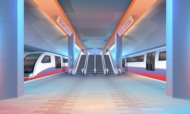 Interior of subway or metro station Premium Vector