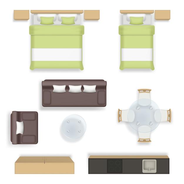 インテリア上面図。リビングベッドルームバスルームハウス用品ソファチェアテーブルワードローブ家具リアル Premiumベクター