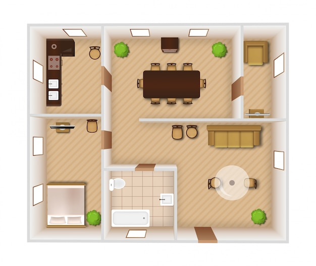 Interior top view Free Vector