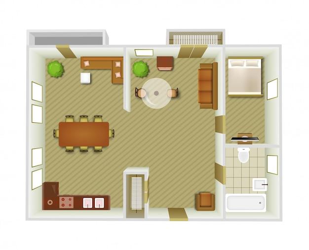 Interior top view Free Vector