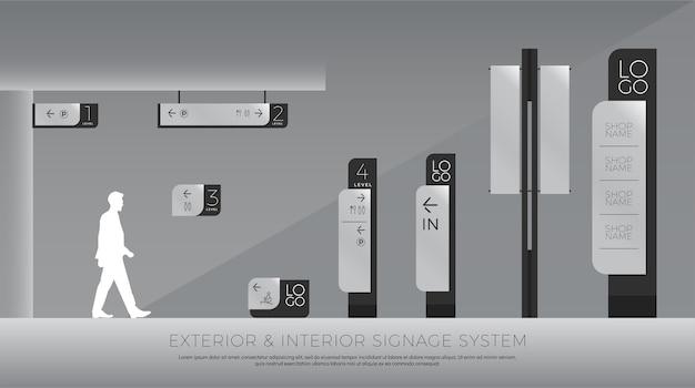 Interior and traffic signage system corporate identity Premium Vector