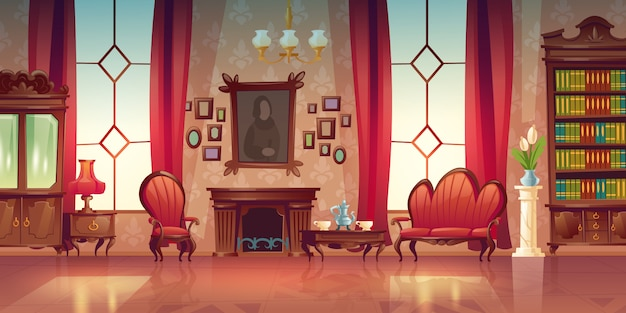 Interior of victorian living room Free Vector