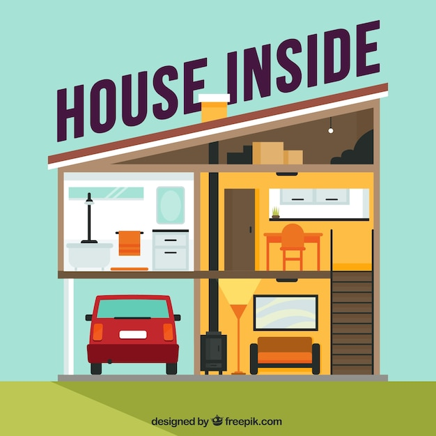 Free Vector Interior View Of House With Garage And Flat Design