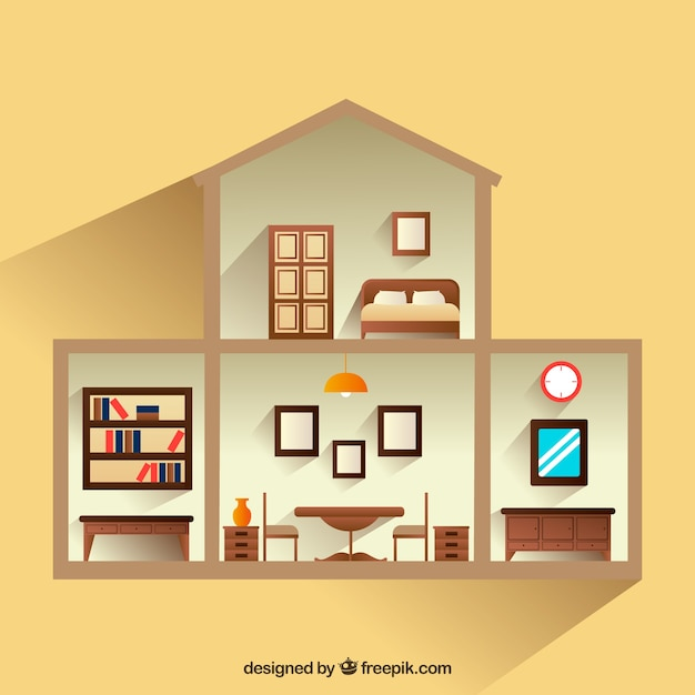 Interior view of house with wooden furniture Free Vector