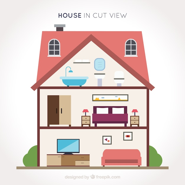 Interior View Of Nice House In Flat Design Vector