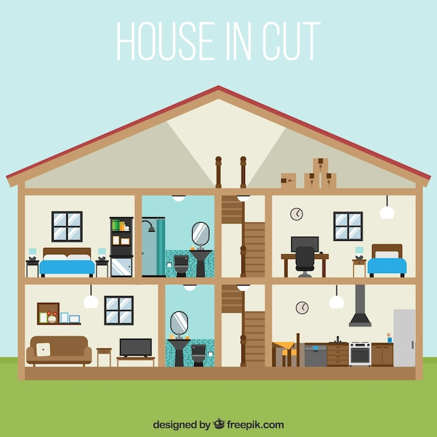 Interior View Of Big House In Flat Design Vector