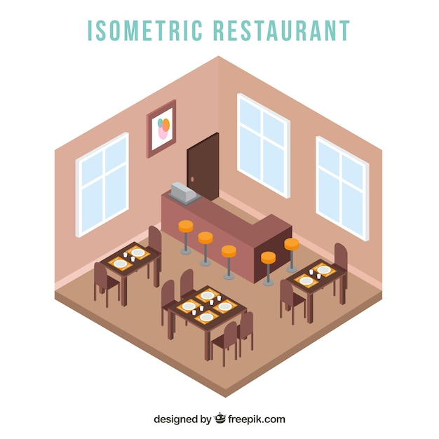 Interior view of restaurant in isometric style