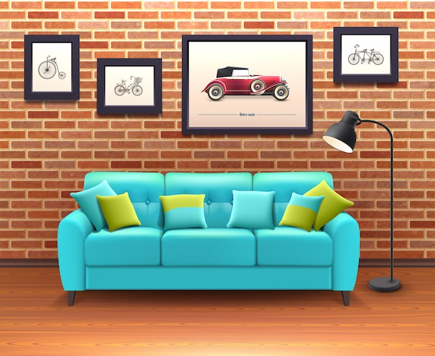 Interior with sofa realistic illustration Free Vector