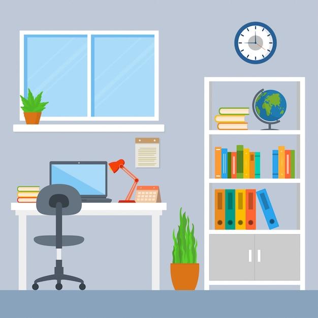 Interior of a workspace Premium Vector