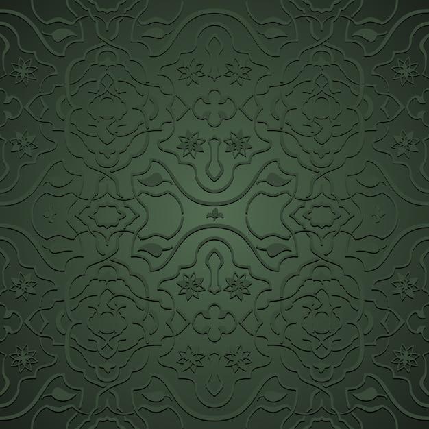 오리엔탈 스타일의 인터레이스 꽃 패턴, 녹색의 당초 무료 벡터