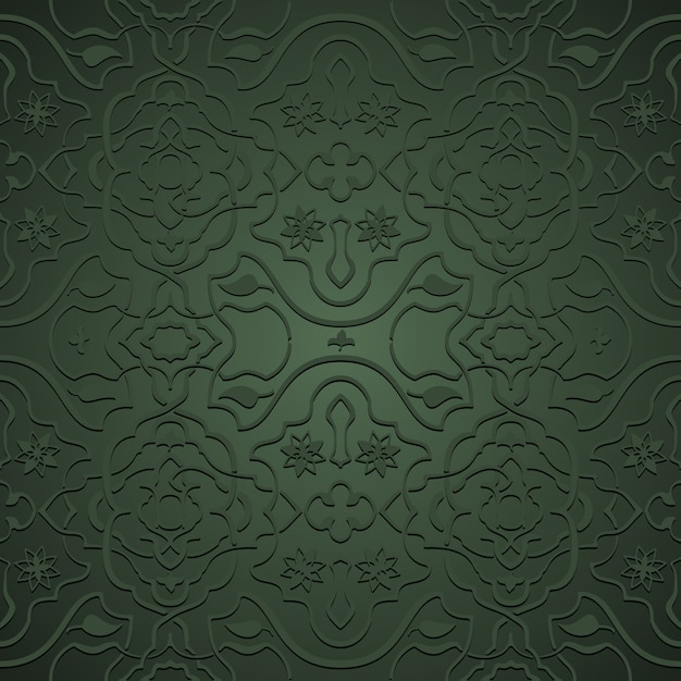 Interlacing flowery patterns in oriental style, arabesque on green Free Vector