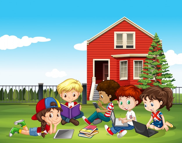 Internatinal children studying outside classroom Free Vector