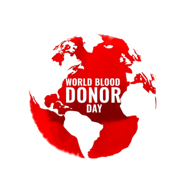 Internationa blood donation day poster with world map Free Vector