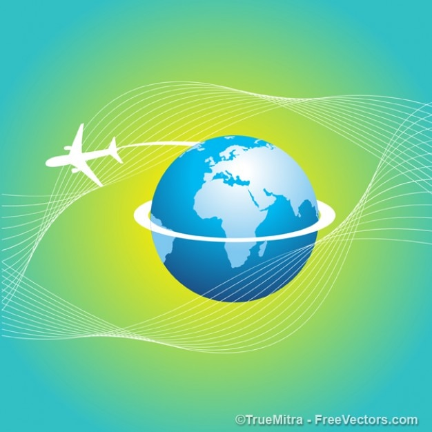 International airplane travel around the world\ vector