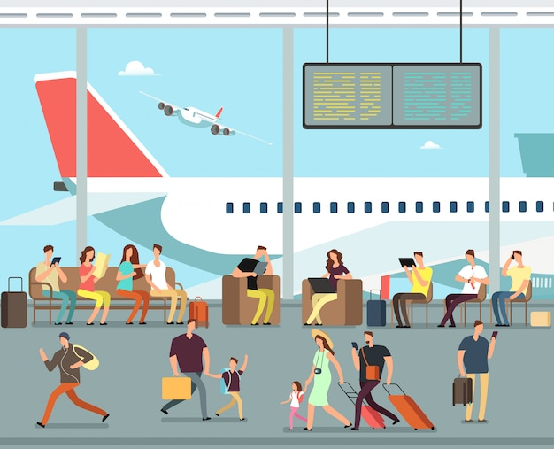 International airport terminal with sitting and walking people. men and women, families with kids go on summer vacation Premium Vector