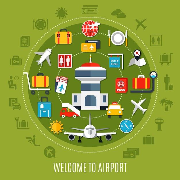 Международный аэропорт приветствует пассажиров авиаперелета с плоским рекламным плакатом с доступными служебными символами в круге на зеленом фоне Бесплатные векторы