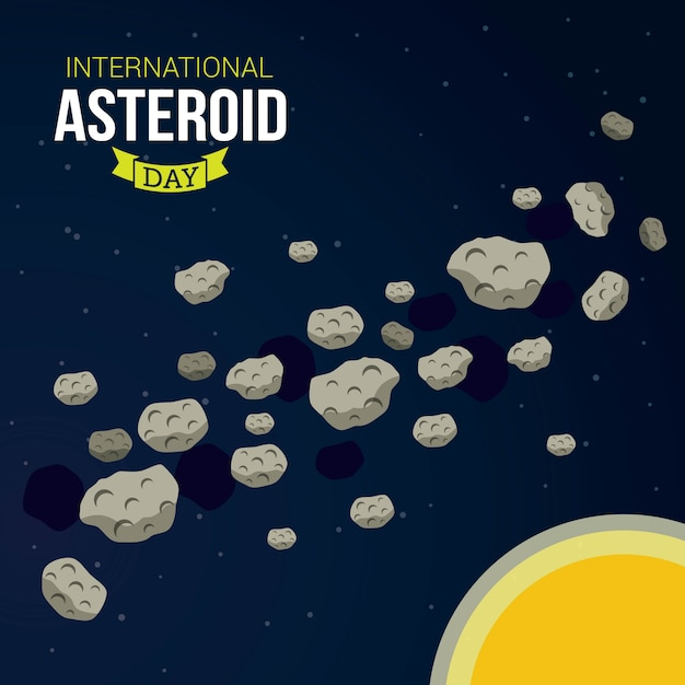 International asteroid day Premium Vector