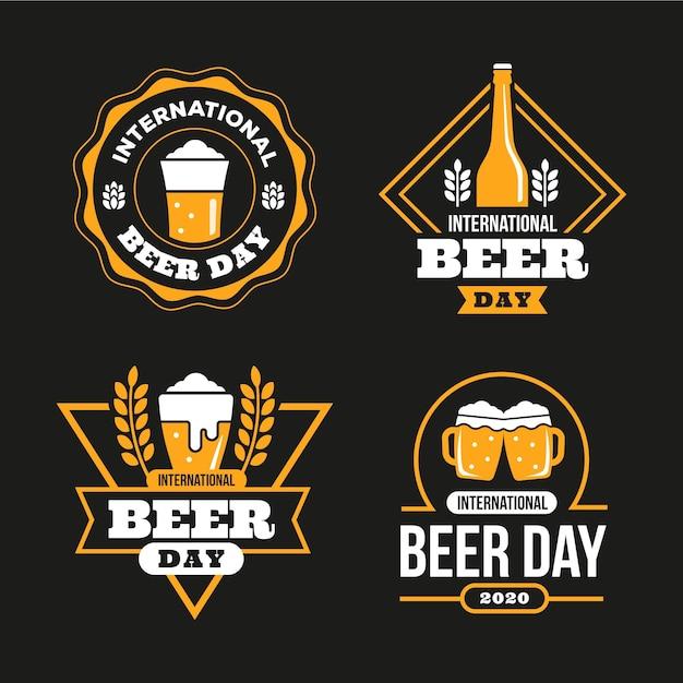 Международный день пива значки в плоском дизайне Бесплатные векторы