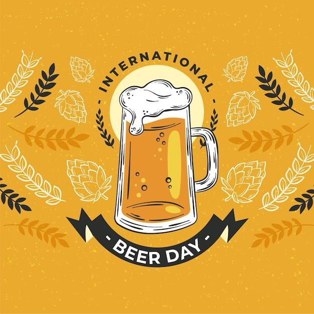 Иллюстрация международного дня пива Бесплатные векторы