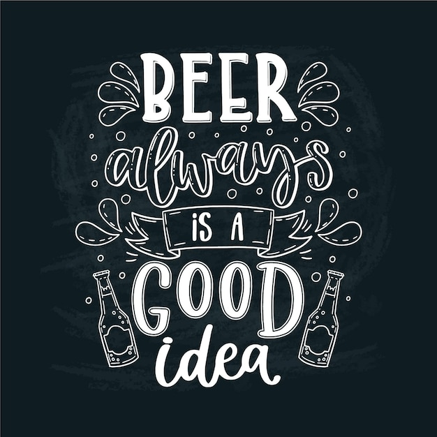 Международный день пива надписи концепция Бесплатные векторы