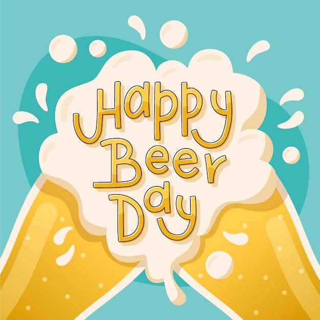 Международный день пива надписи дизайн Бесплатные векторы