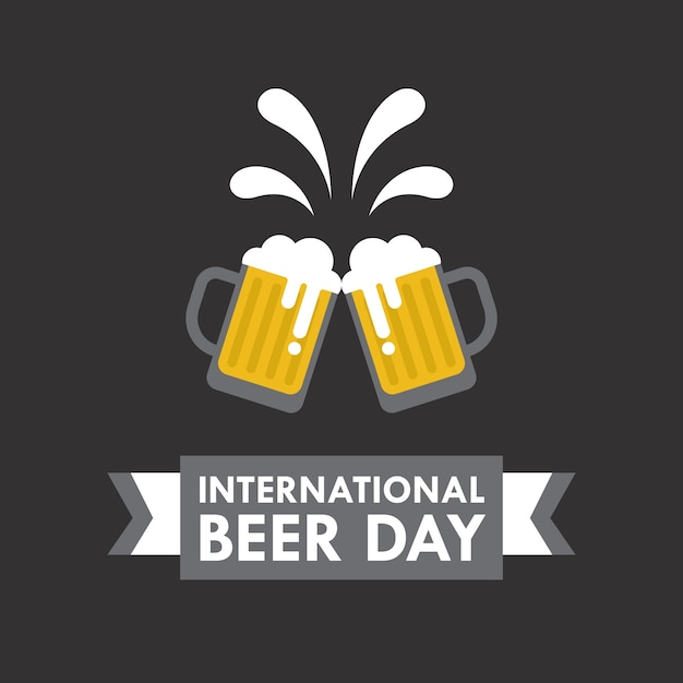 International beer day vector illustration in flat style Free Vector