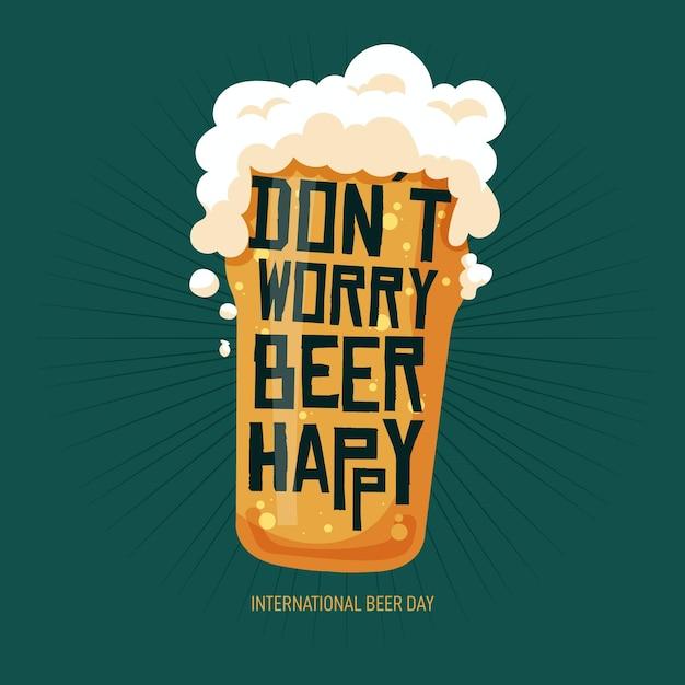 Международный день пива с пенистым стеклом Бесплатные векторы