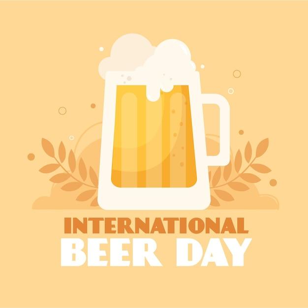 Международный день пива с пенной пинтой Бесплатные векторы