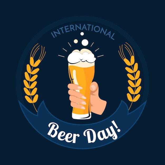 Международный день пива с рукой, держащей стакан Бесплатные векторы