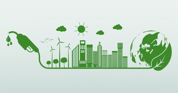 International biodiesel day. ecology and environmental help the world with eco-friendly ideas Premium Vector