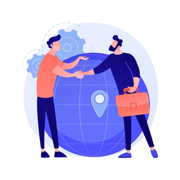 International business cooperation. businesswoman and businessman shaking hands. global collaboration, agreement, international partnership concept illustration Free Vector