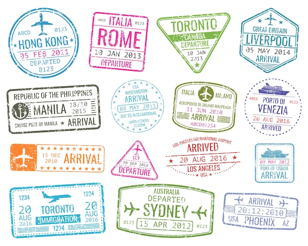 International business travel visa stamps vector arrivals sign. set of variety rubber stamp city ill Premium Vector