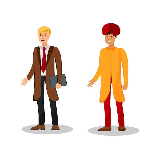 International businessmen flat color illustration Premium Vector