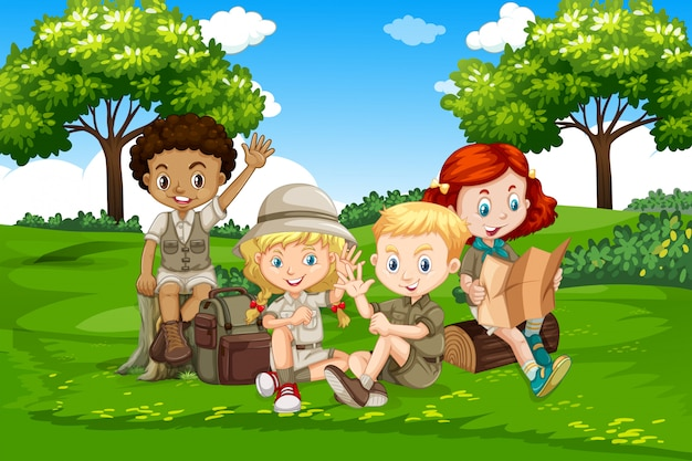 International camping kids in nature Premium Vector