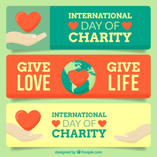 international charity day banners set vector free download