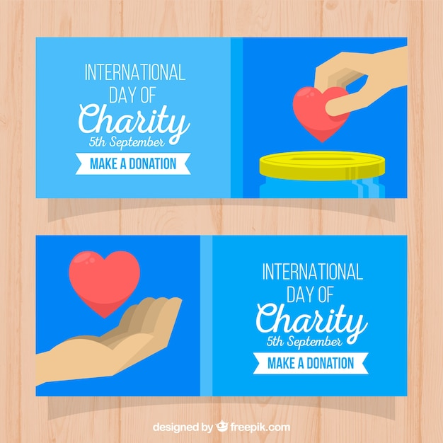 International charity day hand banners with heart