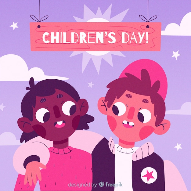 International childrens day illustration Free Vector