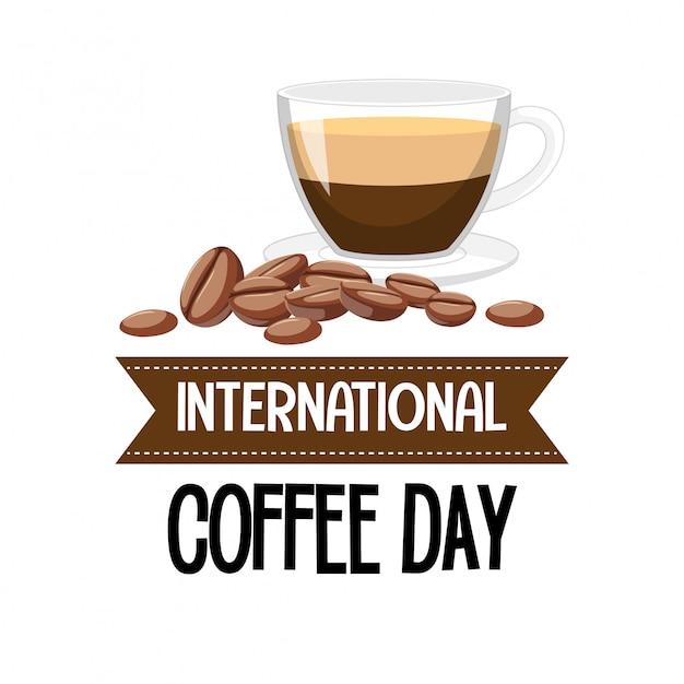 国際コーヒーデーレターバナー Premiumベクター