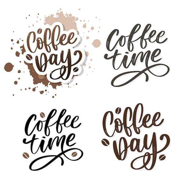 International coffee day lettering set Premium Vector