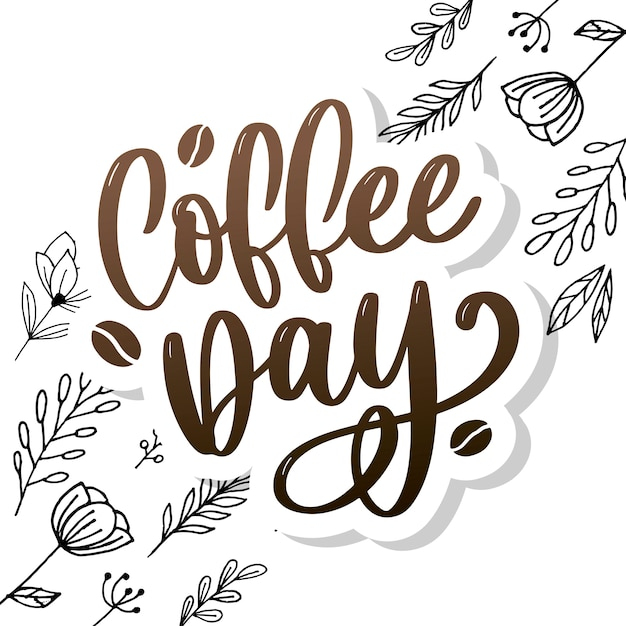 International coffee day lettering Premium Vector