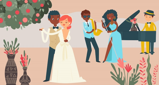 국제 커플 결혼 축하, 캐릭터 남성 여성 결혼 그림. 음악 그룹 재즈 공연, 결혼 축제. 프리미엄 벡터