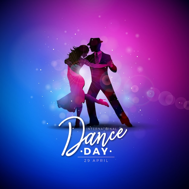 International dance day illustration with tango dancing couple Free Vector